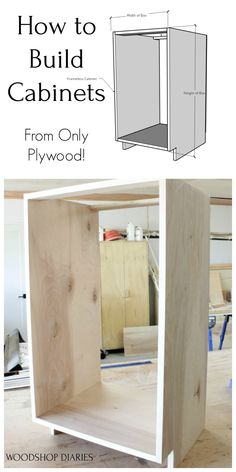 Build your own Euro Style Frameless cabinets with this simple tutorial! No milling fancy joinery or tools required. You CAN build your own custom kitchen cabinets on a budget. Kitchen Cabinets On A Budget, Built In Cabinets, Diy Cabinets, How To Build Cabinets, Cupboards, Woodworking Toys, Woodworking Projects Diy, Woodworking Furniture, Rockler Woodworking