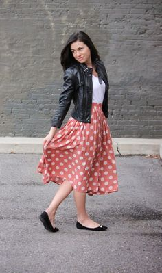xomrsmeasom xo mrs measom xo, mrs measom polka dot skirt leather jacket midi skirt casual outfit Friday night outfit
