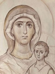 Writing Icon, Art Icon, Orthodox Icons, Christian Art, Drawings, Sketch, Backgrounds, Virgin Mary, Sketch Drawing