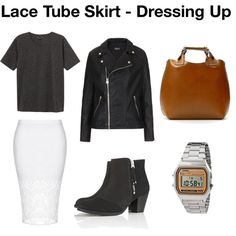 Lace Tube Skirt - Dressing Up by afashionweirdo on Polyvore