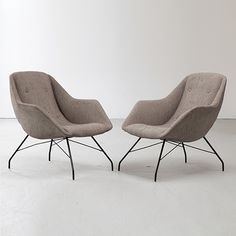 Pair of lounge chairs in grey upholstery with wrought iron frame. Designed by Carlo Hauner  Martin Eisler for Forma, Brazil, 1960s