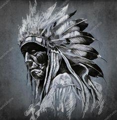 Baixar - Tatuagem arte, retrato de cabeça de índio americano sobre background escuro — Imagem de Stock #9942621