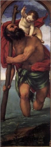 St. Christopher - Lorenzo Lotto.  1531.  Oil on canvas.  162 x 57 cm.  Gemaldegalerie, Staatliche Museen zu Berlin, Berlin, Germany.