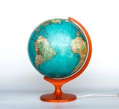 Rare Vintage World Globe Light / Globe by TheCuriousCaseShop, World Globe Lamp, Desk Globe, Globe Lamps, Globe Lights, Library Lighting, Wood Desk Lamp, Old Globe, Table Lamps For Sale, World Decor
