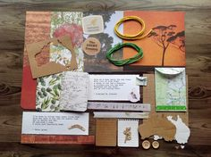 Mini kit, Inspiration pack, Australiana Ephemera, Australian inspiration pack,gift wrapping kit, Australiana scrapbooking kit,cardmaking kit