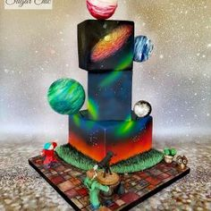 """My semi final entry in the Baking Industry Awards We were asked to create a cake that truly encapsulates the """"Cosmic"""" theme. As with all of my cakes, I chose to make it personal to the recipient (in this case, me 😁), so the children in the. Create A Cake, Birthday Party For Teens, Cakes For Boys, Love Cake, Pretty Cakes, Geometric Designs, Cake Art, Amazing Cakes, Constellations"""