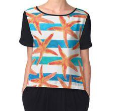 Women's Chiffon Top #pattern #fashion #starfish #summer #beach #mermaids #chic #print #pattern #blue #oceanlover #redbubble