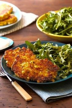 Ellis Hanson -Golden Corn Cakes With Citrus Greens by Yotam Ottolenghi, WSJ. These look really good and gluten free.use non dairy yogurt and sour cream to make this a vegan delight! Yotam Ottolenghi, Ottolenghi Recipes, Vegetable Recipes, Vegetarian Recipes, Healthy Recipes, Otto Lenghi, Whole Food Recipes, Cooking Recipes, Cooking Pasta