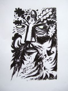 """""""Green Man"""" page decoration by Clive Hicks-Jenkins for 'The Foliate Head' by Marly Youmans (Stanza Poetry)"""