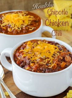 The flavors of this chili are exceptional! The heat from the chilies is tempered by just a touch of maple syrup. A mix of ground chicken and spicy chicken sausage brings more flavor without the fat. This chili is incredibly filling and flavorful! A sure hit! #chipotlechickenchili #chickenchili