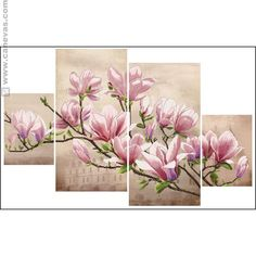 """New sealed embroidery cross-stitch kit """"Magnolia Sulange"""" by Nova Sloboda manufacture. Fabric Painting, Flower Painting, 3 Piece Canvas Art"""