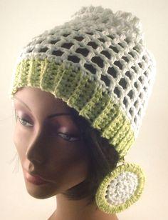 Crochet Hat/Earring Set Mesh Crochet by CreationsbyLaya on Etsy