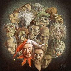 Allerlei poppen van de voorstellingen van Fred samen met Fred geportretteerd door Poen de Wijs.