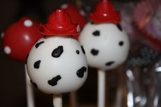Mom's Killer Cakes & Cookies Original Dalmatian Spots Fireman Hat Cake Pops. $34.50, via Etsy.