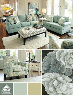Living Room decor ideas - Neutral blue and yellow, transitional living room with furniture from Ashley Furniture.