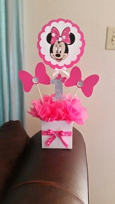 Minnie Mouse Center piece using my Cricut! - My WordPress Website Minie Mouse Party, Minnie Mouse Theme Party, Minnie Mouse 1st Birthday, Minnie Mouse Pink, Mickey Party, Mickey Mouse, Minnie Mouse Decorations, Birthday Decorations, Minnie Mouse Cricut Ideas