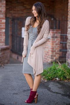 Wishes Long Sleeve Front Drape Button Up Cardigan (Milk Tea)
