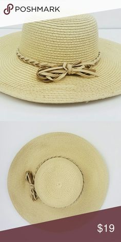 Summer Straw  Hat Summer Straw Hat with knotted leather bow Accessories Hats