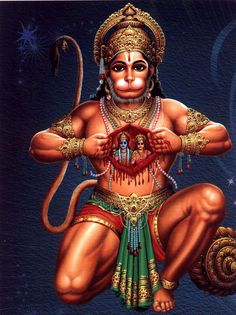 Hanuman - Rama - Sita . Hanuman, figura mitologica indù, è il semidio a capo di un esercito di scimmie nel grande poema epico indiano Ramayana. Figlio di Vayu (o Pavana), dio del vento, Hanuman è in grado di volare.