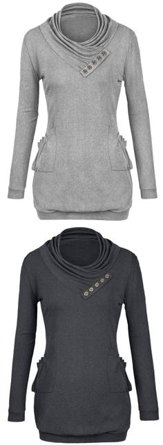 This hooded sweatshirt is a fall necessity! The Ornamental button and dark material combine for a look that is as sultry as it is trendy. Perfect option for you at Cupshe.com !