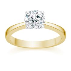 I love this 18k Yellow Gold Engagement ring with 0.5ct Round Diamond H/VS1 on Vashi.com. #vashi