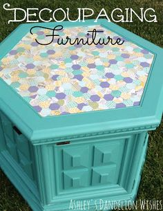 Clever use of a paper punch. Fooled me. I thought it was fabric! ______ Ashley's Dandelion Wishes: How To Decoupage Furniture Decoupage Furniture, Furniture Projects, Furniture Makeover, Painted Furniture, Diy Furniture, Redoing Furniture, Furniture Update, Repurposed Furniture, Diy Projects To Try
