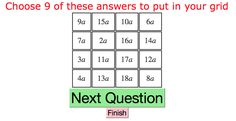 A Flash Activity creating quickfire basic arithmetic questions for use in front of a class. Arithmetic, Bingo, Periodic Table, This Or That Questions, Math, Collection, Periotic Table, Math Resources, Early Math