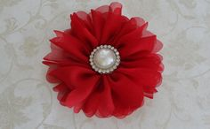 Deep Red Chiffon Flower Clip with Pearl by reneesboutique23, $10.95