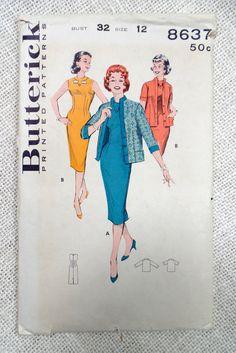 Vintage Pattern Butterick 8637 1950s by momandpopcultureshop