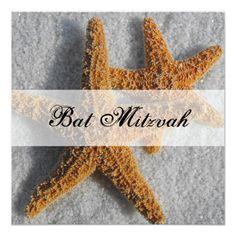 Starfish in the Sand Beach Bar Mitzvah Custom Invitations Invitation Paper, Custom Invitations, Party Invitations, Bar Mitzvah Invitations, Beach Bars, Bat Mitzvah, Perfect Party, Starfish