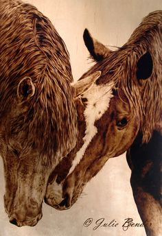 "Promise Not to Tell? (horses) by julie bender Pyrography ~ 16"" x 11"""