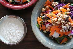 The Blue Zones Salad with Cashew Tahini Dressing - Wayfaring Vegan Blue Zones Recipes, Zone Recipes, Food Processor Recipes, Healthy Menu, Healthy Eating Recipes, Tahini Salad Dressing, Summertime Salads, Vegetarian Cabbage, Stop Eating
