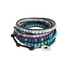 Chan Luu Stone Blue Mix Brown Leather Wrap Bracelet - Regencies.com ($170) ❤ liked on Polyvore featuring jewelry, bracelets, blue bangles, leather wrap bracelet, stone jewelry, brown jewelry and blue wrap bracelet