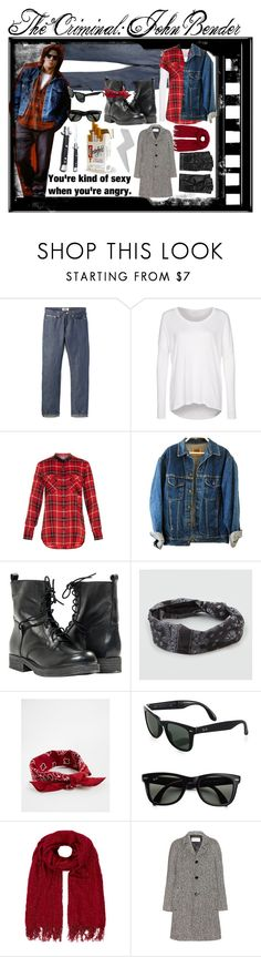 """""""The Criminal: John Bender"""" by im-a-monster97 ❤ liked on Polyvore featuring Naked & Famous, mbyM, Vince, Paolo Shoes, Full Tilt, ASOS, Ray-Ban, Monsoon, Yves Saint Laurent and Minor Obsessions"""