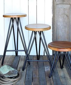 Harpoon Wood and Iron Counter Stool