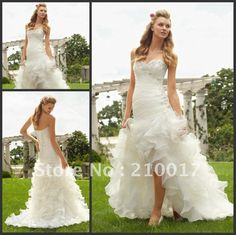 ML6743 Free Shipping Fascinating Sweetheart Beaded Cascading Layers Organza High-Low Wedding Dress on AliExpress.com. $175.00