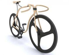 Designfiets met houten frame
