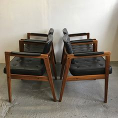 Svegards Markaryd chairs leather and walnut mid century
