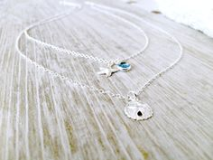Personalized Layered Sand Dollar Necklace,Birthstone Necklace,Silver Starfish Necklace,Swarovski Birthstones,Beach Wedding,Bridesmaid Sets by LetItBeLove on Etsy