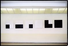 Francois Morellet Artist Paintings 6 Random Distributions of 4 Black and White Squares Using the Even and Odd Numbers of Pi 1958 oil on wood six panels 80 x 80cm Collection Centre Pompidou Paris Solomon R. Guggenheim Museum New York