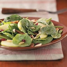 "Spinach Almond Salad Recipe- Recipes  ""I'm asked for the recipe every time I serve this salad. It's just lovely."" —Jennie Richards, Riverton, Utah"