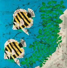 Textile Wall Art  Original Batik  Butterfly Fish by AnthisBatikArt