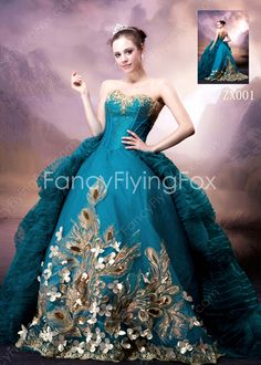 124fffdaa4a Gothic Shallow Sweetheart Ball Gown Full Length Teal Colored Quinceanera  Dresses With Gold Embroidery