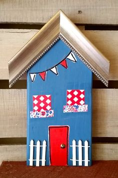 Americana Art Home/White Picket Fence/Handmade Wood House/One-of-a-Kind/Reclaimed Wood Art/Mixed Media on Wood/Home Decor/Housewarming Gift by LollyMollyArt on Etsy