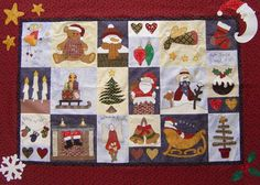 """Dig into that scrap basket for this paper foundation pattern featuring several Santas among the pine trees. Measuring 23 1/2"""" x 13 1/2"""", this Christmas quilt runner will"""