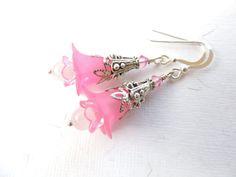 Pink Lucite Flower Earrings Rose Quartz Flower by AllAboutClass, $18.00