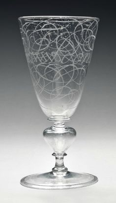 A FAÇON-DE-VENISE GLASS CALLIGRAPHIC GOBLET BY WILLEM VAN HEEMSKERK  1686, THE NETHERLANDS, SIGNED, INSCRIBED AND DATED TO THE FOOT
