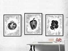 "Black Vegetables download (3JPG), Watercolor, Digital prints XXL 14,5""x19,3"", art wall decor, digital print, tomato,paprika, artwork decor. by KrisztinARTDesign on Etsy Wall Art Decor, Digital Prints, Gallery Wall, Tapestry, Watercolor, Vegetables, Unique Jewelry, Frame, Handmade Gifts"