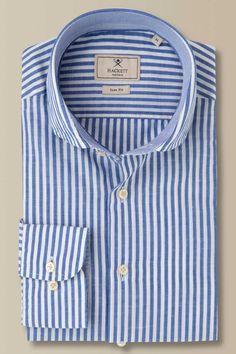 Camisa rayas algodón y lino Hackett Mayfair