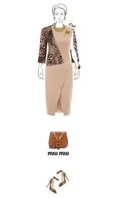 Office outfit: Beige - Animal Print by downtownblues on Polyvore #officewear  #Sleeveless  #wrapdress  #animalprint  #asymmetric  #saddlebag #strappy #MiuMiu #JosephRibkoff #jimmychoo